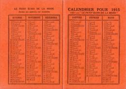 1915 - Le Petit écho De La Mode Au 1 Rue Gazan  à Paris 14ème - FRANCO DE PORT - Calendriers
