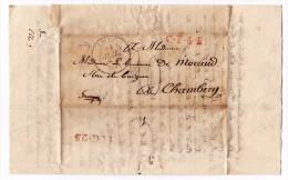 Lettre Avec Correspondance Lille Pour Chambéry Savoie Baronne De Morand De Boigne - 1801-1848: Precursori XIX