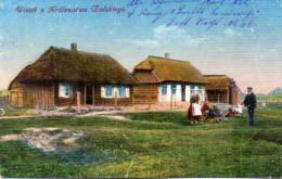 "Orig. farb. Feldp.-Karte ""Bauerngeh�fte aus RUSS.-POLEN"" Deutsche Feldpost, 24.8.17"