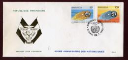RUANDA, RWANDA, RWANDAISE, FDC, 1985, 40 ANNIVERSAIRE DES NATIONS UNIES,  UNO - Rwanda