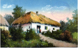 "Orig. farb. Feldp.-Karte ""Russische Dorflandschaft"" K.D.Feldpost, 1.8.17"