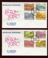 RUANDA, RWANDA, RWANDAISE, FDC, 1980,  2 X FDC  150 ANNIVERSAIRE DE LA BELGIQUE - Rwanda