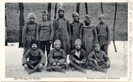 """Orig. Feldpost-Karte """"Der Krieg im Osten - Gruppe russischer Gefangener"""" -2.1.16 OSt. L�TZEN"""