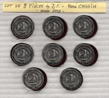 Lot de 8 pi�ces de 2 francs de FRANCE - ann�e 1998 - Pi�ces de 2f. en nickel - Ren� CASSIN  - 2 scannes