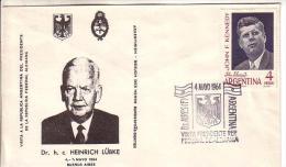 ARGENTINA Special Stamped Cover 1964 - Lubke Visit - Postal Stationery