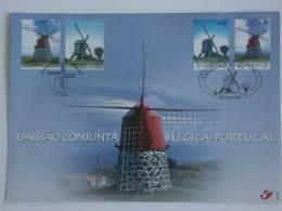 België Belgique Portugal 2002 Herdenkingskaart Carte Souvenir Windmolens Moulins à Vent HK 3091-3092 Yv 3085-3086 - Cartas Commemorativas