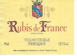 BRASSERIE DE CLERCK 80200 PERONNE - RUBIS DE FRANCE - VIN DE TABLE  -  75cl ( étiquette De Vin  ) - Peronne