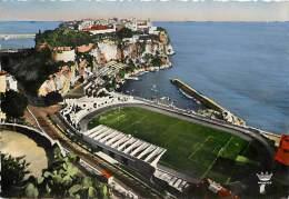 Monaco  -gd Format Div- Ref - N495 - Monaco - Le Rocher Et Le Stade Louis II - Stades - Theme Sports -carte Bon Etat- - Non Classés