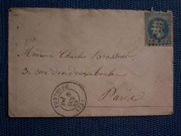 """"""""""" ENV.  08 / 10 / 1869 //  CACHET  A  DATE  TYPE 17    -G. C. 2974  PONTOISE - """" Sans Lettre - 1849-1876: Période Classique"""