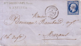 ALPES MARITIMES - ANTIBES - 8-1-1858 - EMPIRE N°14 OBLITERATION PC - SANS TEXTE. - 1849-1876: Période Classique