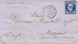 ALPES MARITIMES - ANTIBES - 8-1-1858 - EMPIRE N°14 OBLITERATION PC - SANS TEXTE. - Marcofilie (Brieven)