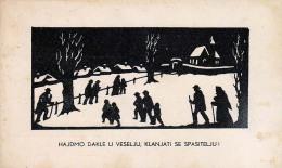AK KÜNSTLERKARTE ,Silhouette  KROATIEN KARITAS NADBISKUPIJE ZAGREBACKE Ansichtskarten 1937 - Scherenschnitt - Silhouette