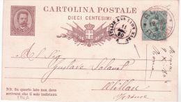 1880- C P E P 10 C. De Rome Entrée ITALIE AMB. LYON MARS. A   Noir - Marcofilie (Brieven)
