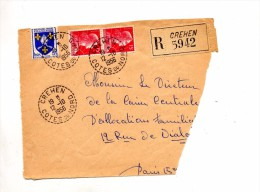 Devant De Lettre Recommandee Crehen - Postmark Collection (Covers)