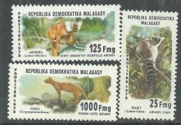 Madagascar n� 627 / 29  XX  Faune malgache.  Les 3 valeurs sans charni�re, TB