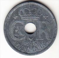 DINAMARCA 1945.CHRISTIAN X . 25 ORE. MBC .ZINC RARA  VER FOTO   CN4230 - Dinamarca