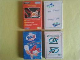 4 jeux de 32 cartes. Jeux neufs dans un �tui carton. Malabar, Stimorol. ULPL. Yoco glaces Nestl�. Cr�dit Agricole
