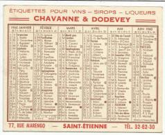 CALENDRIER DE POCHE 1960 ETIQUETTES CHAVANNE ET DODEVEY (SAINT ETIENNE) - Calendarios