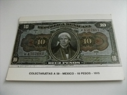 BANCONOTA RIPRODUZIONE REPUBBLICA MEXICANA 10 PESOS MEXICO 1915 - Monete (rappresentazioni)