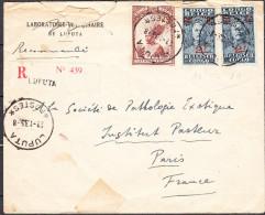 CONGO BELGE Lettre recommand�e du LABORATOIRE VETERINAIRE de LUPUTA du 22 jan 1935 via PARIS