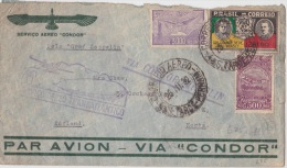 """1932 Brazil Airmail Cover To UK Via Airship """"Graf Zeppelin"""" Nice Illustrated Airship Cachet - Airmail"""