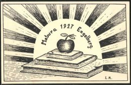 CPA Illustrateur Engelberg, Matura 1927, Apfel Auf Bücher - OW Obwalden