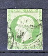 Francia 1854 Y&T N. 12a Napoleone III C. 5 Verde Giallo  Usato / Difettoso - 1853-1860 Napoléon III.