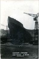 "N°5303A -carte Photo Grand Quevilly -chantiers De Normandie ""cargo ""Rennes"" 1947 - Commerce"