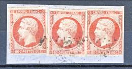 Francia 1854 Y&T N. 17D Napoleone III C. 80 Vermiglio,  Tre Splendidi Esemplari Usati Su Frammento - 1853-1860 Napoléon III.