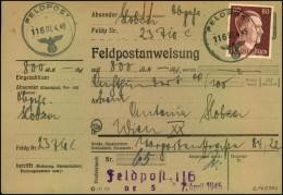 1945:Feldpostanweisung mit Normstempel FELDPOST 116-07.4.45. In Wien 1948 mit Nachweis der Staatsb�rgerschaft ausgezahlt