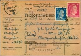 1945:Feldpostanweisung mit Normstempel FELDPOST 867-08.3.45.Ankunftsstempel WIEN 1. VI. 45
