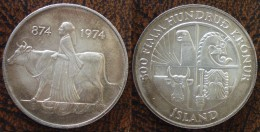 (J) ICELAND: Silver 500 Kronur 1974 UNC (1589) - Islande