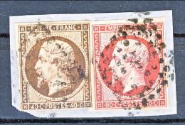 Francia 1854 Y&T Napoleone III VARIETA' N 17A C.80 Carminio + N. 16 C. 40 Ocra Scuro (non Catalogato) Frammento - 1853-1860 Napoléon III.