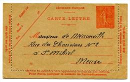 Entier Postal - Carte Lettre Yvert 199-CL3 - Date 023 - Semeuse Lignée 50c Rouge - Cote 8 Euros - R 1739 - Kaartbrieven