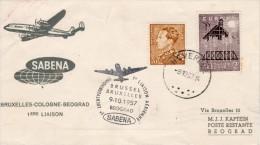 "Belgium-Jugoslavia, Brussel-Beograd 1957 FFC / First Flight Cover ""Sabena"" SB 15 - Airplanes"