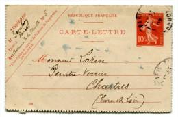 Entier Postal - Carte Lettre Yvert 135-CL3 - Date 708 - Semeuse Camée 10c Rouge - Cote 6,50 Euros - R 1743 - Postal Stamped Stationery