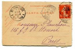 Entier Postal - Carte Lettre Yvert 135-CL2 - Date 633 - Semeuse Camée 10c Rouge - Cote 8 Euros - R 1744 - Postal Stamped Stationery
