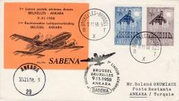 "Belgium-Turkey, Brussel-Ankara 1958 FFC / First Flight Cover ""Sabena"" SB 18 - Airplanes"