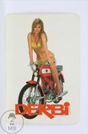 Vintage 1969 Small/ Pocket Calendar - Spanish Derbi Motorcicle Advertising - Sexy Blonde Lady In Bath Suit - Tamaño Pequeño : 1961-70