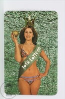 Vintage 1979 Small/ Pocket Calendar - Bath Suit Sexy Lady Queen - Hungarian Gaming - Toto Lotto - Calendarios
