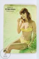 Vintage 1970 Small/ Pocket Calendar - Sexy Red Hair Girl In Bath Suit - Spanish Beer Advertising Euro Pils - Calendarios