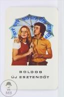 Vintage 1974 Small/ Pocket Calendar - Blonde Lady & Man Under Umbrella  - Hungarian Happy New Year Advertising - Calendarios