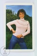 Vintage 1977 Small/ Pocket Calendar - Brunette Beautiful Lady - Hungary Textile Advertising - Calendarios