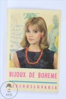 Vintage 1967 Small/ Pocket Calendar - Blond Lady With Jewelry - Czech Bijoux De Boheme Advertising - Calendarios