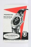 Vintage 1960 Small/ Pocket Calendar - Universal Geneve Polerouter -Microtor Automatic  Swiss Made Wristwatch Advertising - Tamaño Pequeño : 1941-60