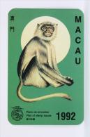 1992 Small/ Pocket Calendar - Macau Plan Of Stamp Issues - Monkey - Calendarios