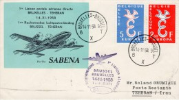 "Belgium-Iran, Brussel-Teheran 1958 FFC / First Flight Cover ""Sabena"" SB 19 - Airplanes"