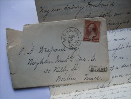 USA 1885 ENTIRE NEW ROCHELLE TO BOSTON WITH MISSENT CACHET AND CREENFIELD MARK - 1847-99 General Issues