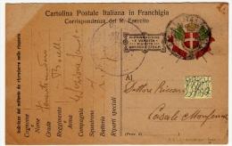CARTOLINA POSTALE ITALIANA IN FRANCHIGIA - CORRISPONDENZA DEL REGIO ESERCITO - POSTA MILITARE - 1917 - War 1914-18
