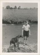 REAL PHOTO -  Boy With Dog On The River,  Garçon Avec Chien, Old Photo - Enfants
